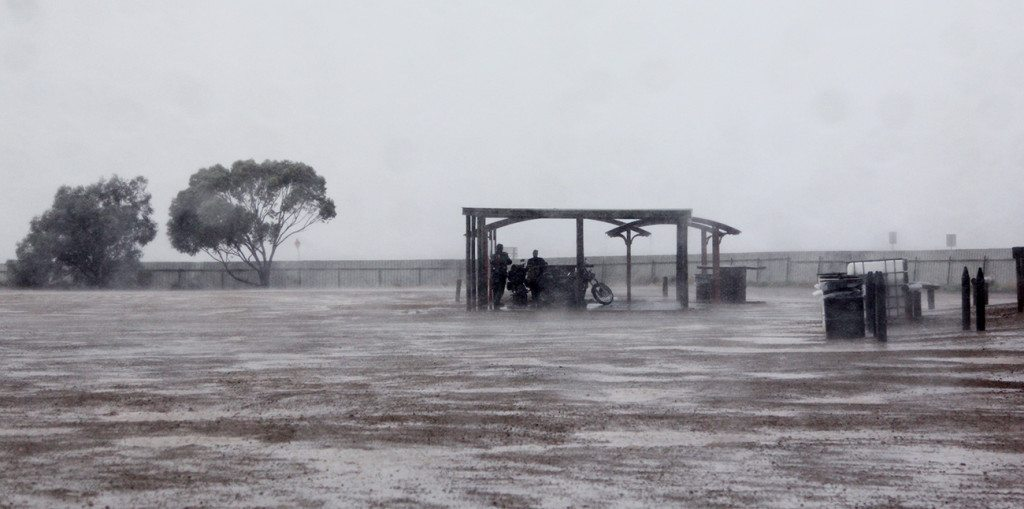 From sunny Port Augusta to stormy wherever this is.